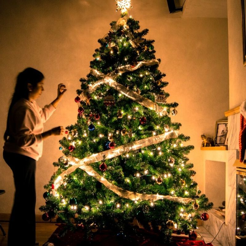 christmas tree with person decorating