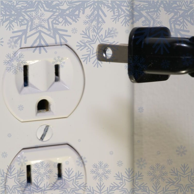 power outlet with snowflakes